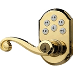 99120-004 - Motorized Lever Lock - Polished Brass
