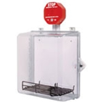 STI-7533AED AED Protective Cabinet - Polycarbonate with Backplate, Wire Shelf, Siren Alarm, Thumb Lock - Clear