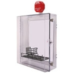 STI-7553AED AED Protective Cabinet - Polycarbonate with Backplate, Siren Alarm, Thumb Lock - Clear