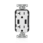 T5832-W 20-Amp USB Charger/Tamper Resistant Duplex Receptacle, White
