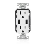T5632-W 15-Amp USB Charger/Tamper Resistant Duplex Receptacle, White