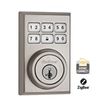 99100-018 - ZigBee Contemporary Style Motorized Deadbolt w/Home Connect - Satin Nickel